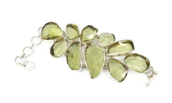 "RESERVED - HUGE Lemon Lime glass bracelet - Sterling silver Vintage Boho ethnic tribal - 2"" Wide - InVintageHeaven"