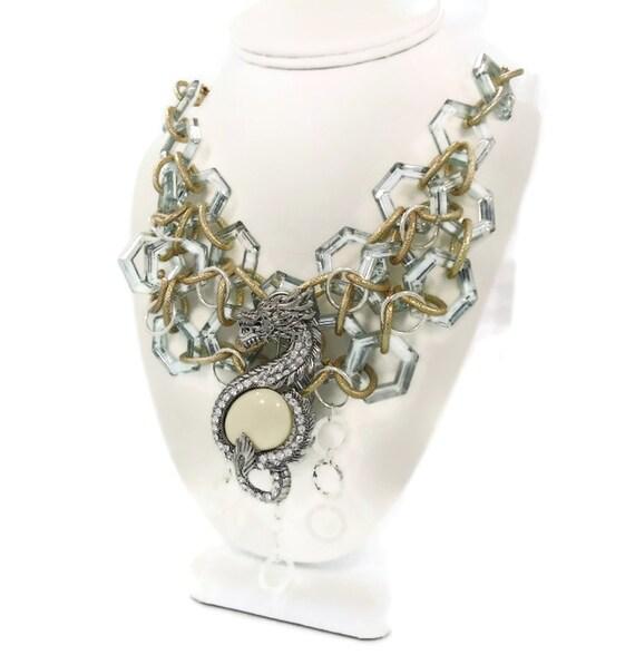 "Dragon Necklace -  Big Statement Bib -  Vintage repurposed assemblage ""Dragon Queen"" - InVintageHeaven"