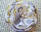 Rosette Clip - Gold and Gray Damask with Pearls