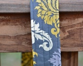 Gray and Yellow Damask Camera Strap