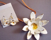 Water Lily  Necklace and Earrings Set