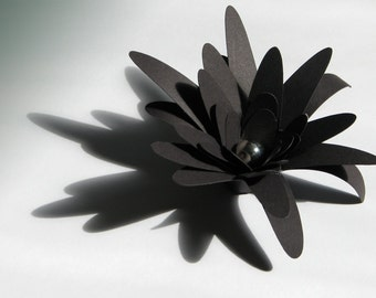 Black paper flowers for weddings, gifts, or scrapbooking set of 12