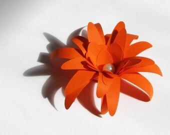 Orange paper flowers for weddings, gifts, etc. set of 12