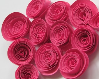 Barbie pink paper roses for weddings, gifts, or scrapbooking set of 12