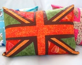 Applique pillow - Union Jack in Autumn cushion cover - orange brown green - 16 x 12 inches OOAK