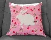 Applique pillow - Fruity Bunny cushion cover - pink white - 16 inches OOAK
