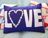 Applique pillow - Love Heart - purple and white - 16 x 12 inches OOAK