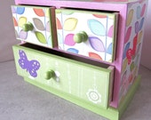 Butterfly Garden - jewelry trinket box mini chest of drawers - pink green white - OOAK