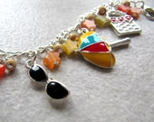Summer Holiday charm bracelet - silver plated enamel charms - yellow orange red pink