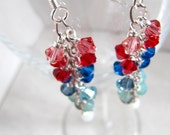 Red, White and Blue Shower cluster earrings - Swarovski crystals - Sterling Silver MADE TO ORDER