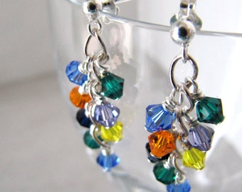 Rainbow mini shower cluster earrings - Swarovski crystals, Sterling Silver MADE TO ORDER