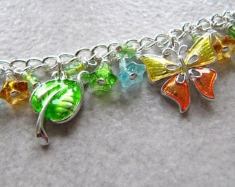 Green Fingers Green Thumb charm bracelet - silver plated enamel charms - green, orange, blue
