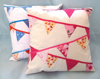 Applique pillow - Bunting - pink, yellow, cream - 14 x 14 inches OOAK