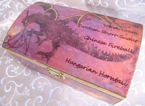 Triwizard Dragons box - jewelry trinket box, wooden chest - gold red purple orange