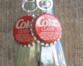 POPn' Jewelry Set, Coke Classic, Unused Bottlecap bracelet and sterling silver Earring set, Recycled, red, white
