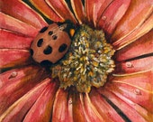 Lady Bug on A Flower - Original Mixed Media