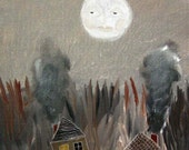 hello moon / original painting on canvas panel