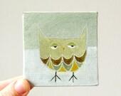 winter owl / original painting on canvas