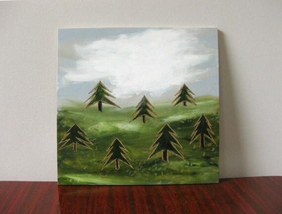tiny pines / original painting on plywood