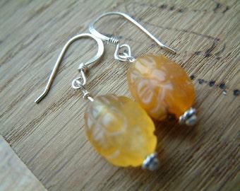 carved jade silver earrings