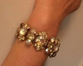 Rhinestone Costume Bracelet Bangle White & Yellow Crystal with  Safety Chain
