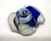 Snowman Melting Recycled Wine Bottle Glass Blue Christmas