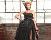 Blackest Black Goth Princess Evening Gown for Custom Order Only
