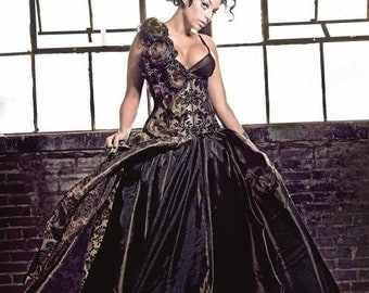 Green Damask Magic Corseted Flower Gown