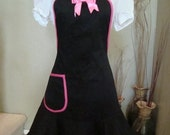 Womens Full Black and Hot Pink Apron
