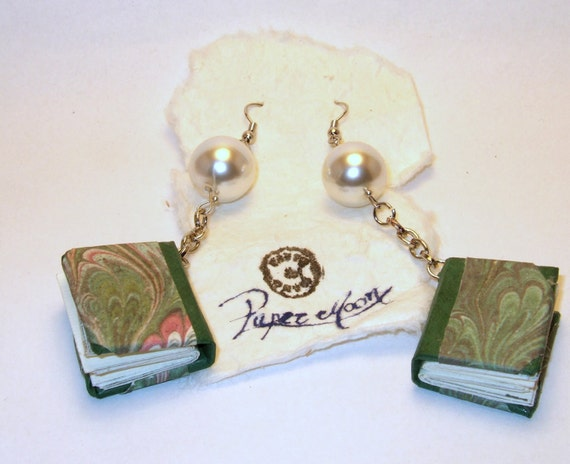 MIni books earrings handmade