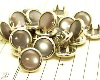24 Charcoal Grey Cowgirl Snaps Pearl Prong Western Snaps