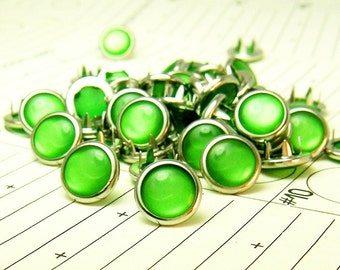 48 Cowgirl Snaps Pearl Prong Western Snaps - Kelly Green