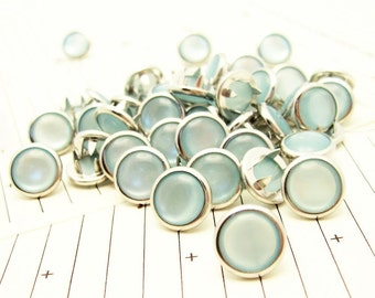 48 Light Blue Cowgirl Snaps Pearl Prong Western Snaps