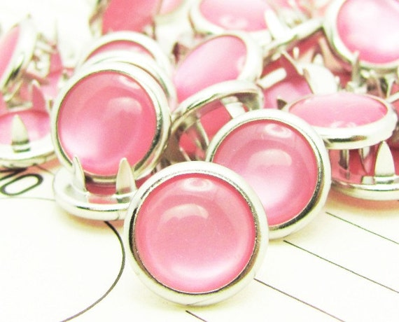 24 Light Pink Cowgirl Snaps Pearl Prong Western Snaps