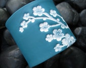Dark turquoise cuff bracelet, light pink Asian floral, handmade jewelry by theshagbag on Etsy