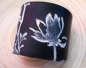 ON SALE Black cuff bracelet Asian magnolia design, handmade jewelry by theshagbag on Etsy, FREE US SHIPPING