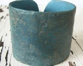 SALE Dark Turquoise Blue Cuff Bracelet, Distressed and Rustic, Handmade Jewelry by theshagbag on Etsy