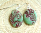 Jade earrings burgundy Asian floral minis, handmade jewelry by theshagbag on Etsy