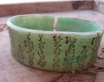 CIJ SALE Cuff Bracelet in Jade, Asian Characters Design, Handmade Cuffs by theshagbag on Etsy