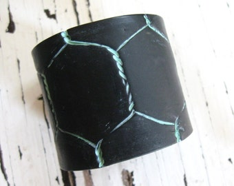 SALE Black Cuff Bracelet, Chicken Wire Design, Handmade Jewelry by theshagbag on Etsy