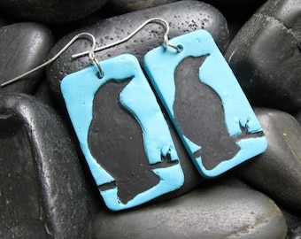SALE Turquoise earrings with black crow design, handmade jewelry by theshagbag on Etsy