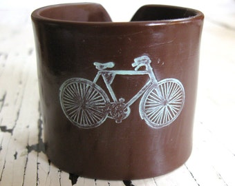 SALE Cuff bracelet, bicycle, chocolate brown, handmade cuffs by theshagbag on Etsy