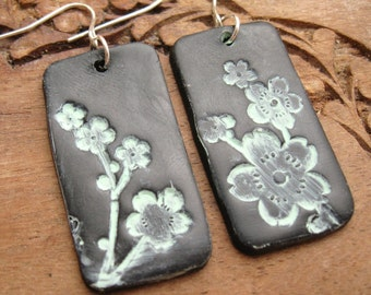 SALE Black patina earrings Asian style floral, handmade jewelry by theshagbag on Etsy