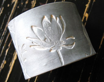 SALE Silver cuff bracelet Asian magnolia design, handmade cuff bracelets by theshagbag on Etsy