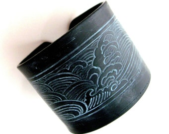SALE Japanese Wave Black Cuff Bracelet, Handmade Jewelry by theshagbag on Etsy