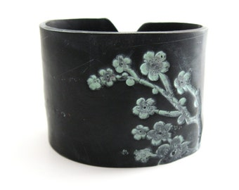 SALE Cuff Bracelet in Black, Asian Floral Patina, Handmade Jewelry by theshagbag on Etsy
