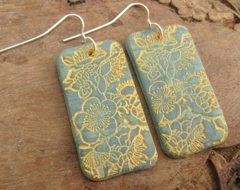 SALE Beautiful light blue translucent Asian floral earrings, handmade jewelry by theshagbag on Etsy