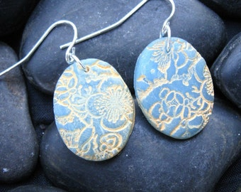 SALE Beautiful blue translucent Asian floral earrings minis, handmade jewelry by theshagbag on Etsy