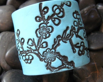 SALE Turquoise Blue Cuff Bracelet Black Cherry Blossom Design by theshagbag on Etsy