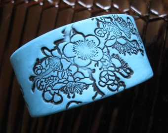 CIJ SALE Bracelet Turquoise Blue, Asian Floral Design, Handmade Jewelry by theshagbag on Etsy